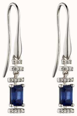 Elements Gold 9k White Gold Sapphire Diamond Deco Drop Earrings GE2302L