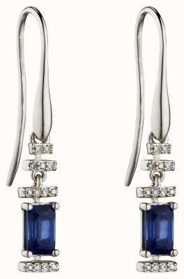 Elements Gold 9k White Gold Sapphire Diamond Deco Drop Earrings GE2302L