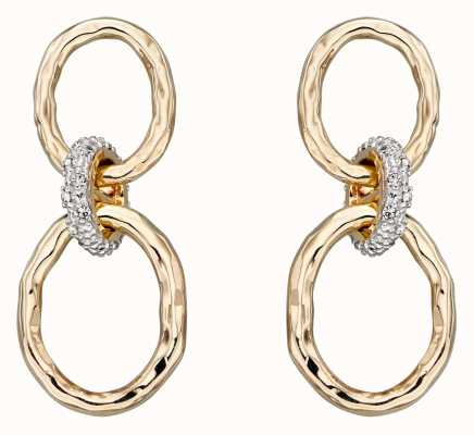 Elements Gold 9k Yellow Gold Hammered Diamond Connector Earrings GE2303