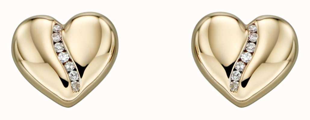 Elements Gold 9k Yellow Gold Diamond Channel Heart Stud Earrings GE2305