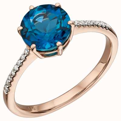 Elements Gold 9k Rose Gold London Blue Topaz Diamond Ring GR561L