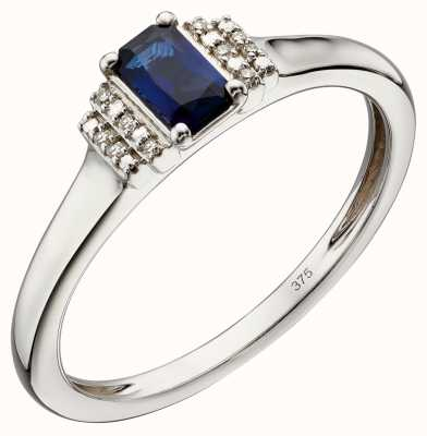 Elements Gold 9k white Gold Sapphire And Diamond Deco Ring GR566L