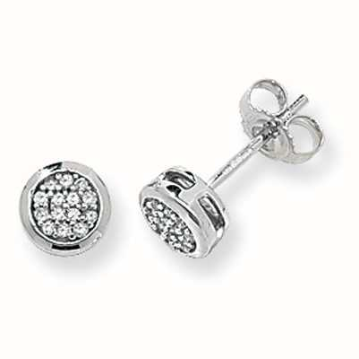 Treasure House 9k White Gold Diamond Pave Stud Earrings DE153W