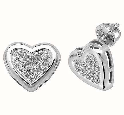 Treasure House 9k White Gold Diamond Heart Stud Earrings ED107W
