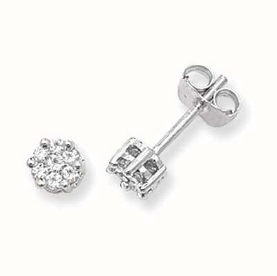 Treasure House 9k White Gold Illusion Set Diamond Stud Earrings ED111W