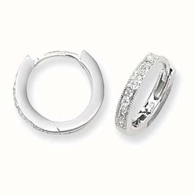 Treasure House 9k White Gold Diamond Hoop Earrings ED116W