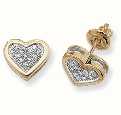 Treasure House 9k Yellow Gold Diamond Set Heart Stud Earrings ED125