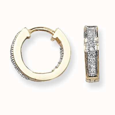 Treasure House 9k Yellow Gold Diamond Set Huggies Hoop Earrings ED134