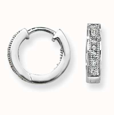Treasure House 9k White Gold Huggies Hoop Earrings ED134W