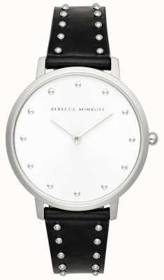 Rebecca Minkoff Womens Major | Black Leather Stud Bracelet | Silver Dial | 2200307