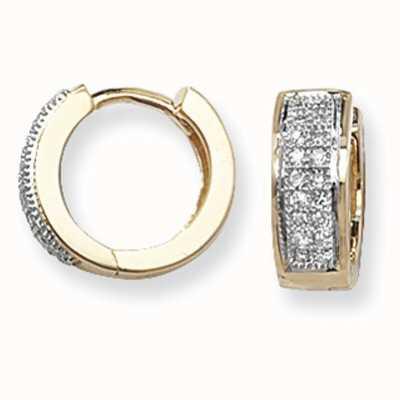 Treasure House 9k Yellow Gold Diamond Set Huggies Hoop Earrings ED135