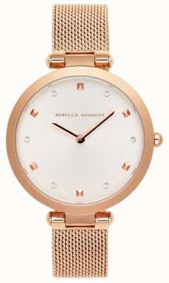 Rebecca Minkoff Womens Nina | Rose Gold Mesh Bracelet | White Dial | 2200301