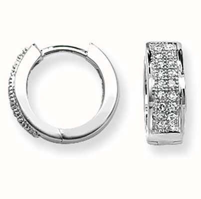 Treasure House 9k White Gold Diamond Set Huggies Hoop Earrings ED135W