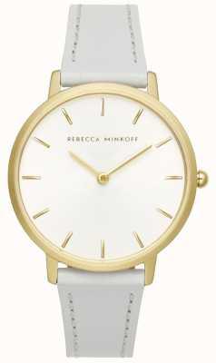 Rebecca Minkoff Womens Major | Grey Leather Strap | Silver/White Dial | 2200289