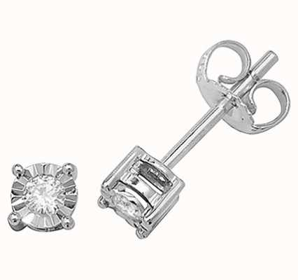 Treasure House 9k White Gold Illusion Set Diamond Stud Earrings ED143W