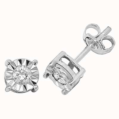 Treasure House 9k White Gold Diamond Stud Earrings ED145W