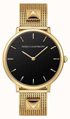 Rebecca Minkoff Womens Major | Gold Plated Mesh Bracelet | Black Dial | 2200002