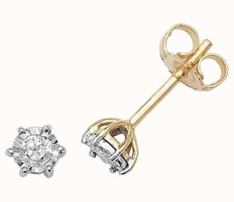 Treasure House 9k Yellow Gold Illusion Set Diamond Stud Earrings ED164