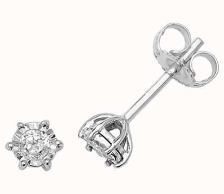 Treasure House 9k White Gold Illusion Set Diamond Stud Earrings ED164W