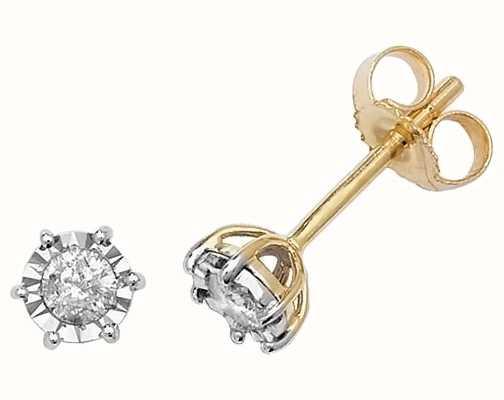 Treasure House 9k Yellow Gold Illusion Set Diamond Stud Earrings ED165