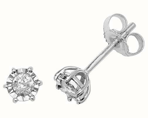 Treasure House 9k White Gold Illusion Set Diamond Stud Earrings ED165W