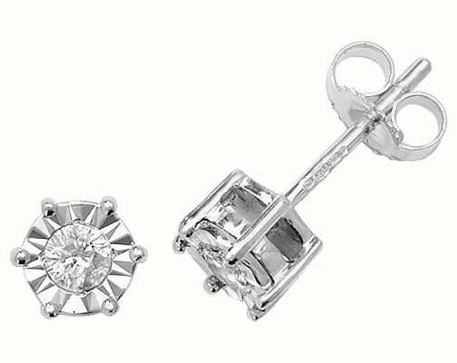 Treasure House 9k White Gold Illusion Set Diamond Stud Earrings ED168W