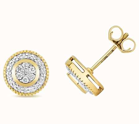 Treasure House 9k Yellow Gold Diamond Set Around Earrings ED177
