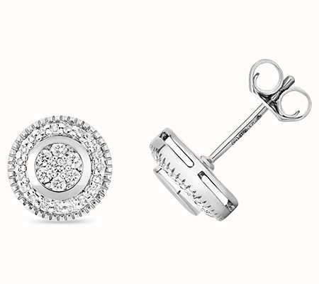 Treasure House 9k White Gold Set Around Diamond Stud Earrings ED177W