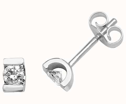Treasure House 9k White Gold Square Diamond Set Stud Earrings ED180W