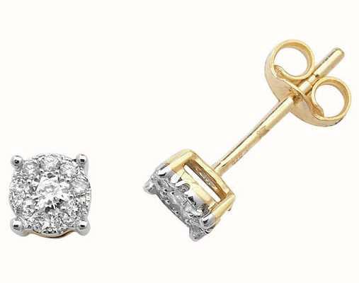 Treasure House 9k Yellow Gold Diamond Brilliant Stud Earrings ED183