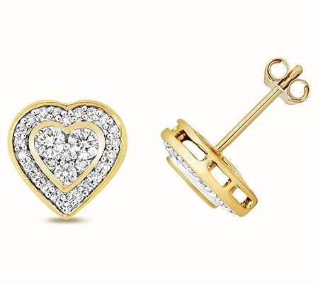Treasure House 9k Yellow Gold Diamond Set Around Heart Stud Earrings ED187
