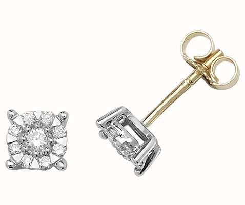 Treasure House 9k Yellow Gold Diamond Brilliant Stud Earrings ED188