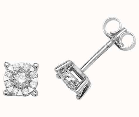 Treasure House 9k White Gold Diamond Stud Earrings ED188W