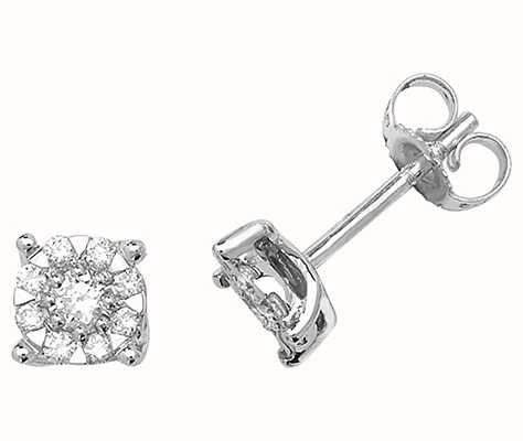 Treasure House 9k White Gold Diamond Stud Earrings ED190W