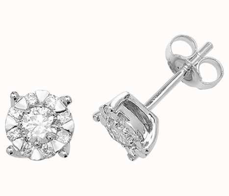 Treasure House 9k White Gold Diamond Stud Earrings ED191W