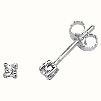 Treasure House 9k White Gold Diamond Stud Earrings ED193W