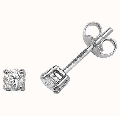 Treasure House 9k White Gold Diamond Stud Earrings ED195W