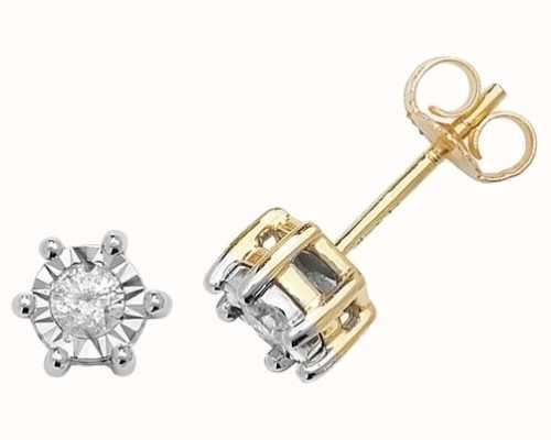 Treasure House 9k Yellow Gold Illusion Set Diamond Stud Earrings ED169