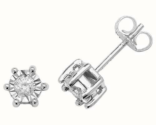 Treasure House 9k White Gold Illusion Set Diamond Stud Earrings ED169W