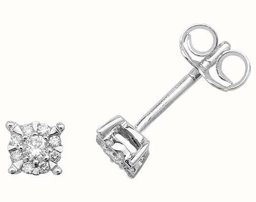 Treasure House 9k White Gold Illusion Set Diamond Stud Earrings ED170W
