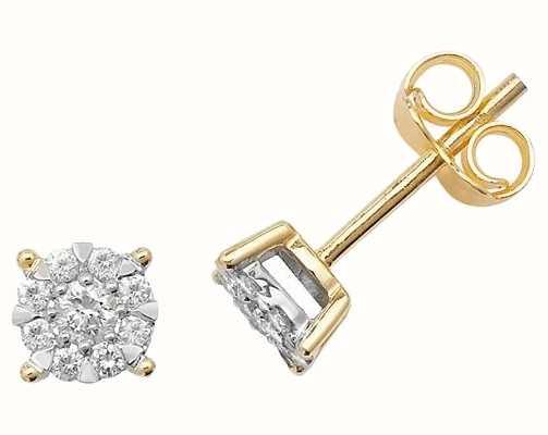 Treasure House 9k Yellow Gold Illusion Set Diamond Stud Earrings ED171