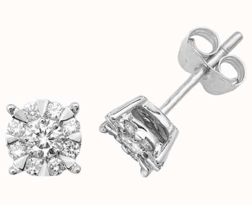 Treasure House 9k White Gold Diamond Stud Earrings ED172W