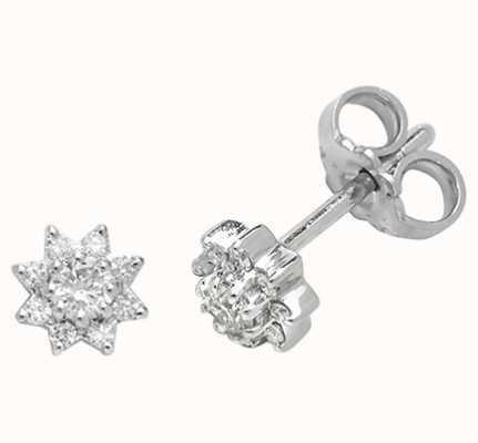 Treasure House 9k White Gold Diamond Sun Stud Earrings ED198W