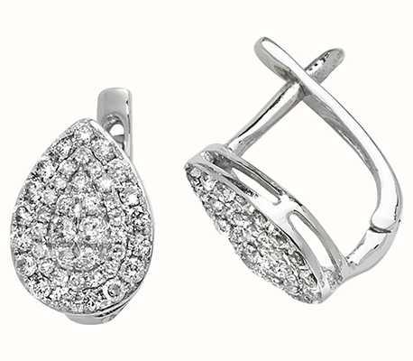 Treasure House 9k White Gold Diamond Drop Earrings ED306W