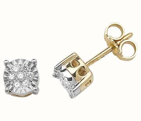 Treasure House 9k Yellow Gold Illusion Set Diamond Stud Earrings ED310