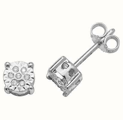 Treasure House 9k White Gold Illusion Set Diamond Stud Earrings ED310W