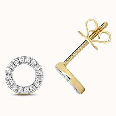 Treasure House 9k Yellow Gold Diamond Circle Stud Earrings ED312