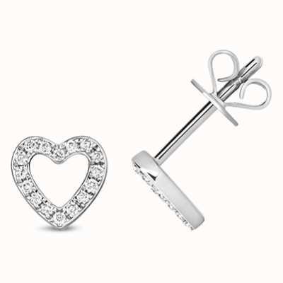 Treasure House 9k White Gold Diamond Heart Stud Earrings ED313W