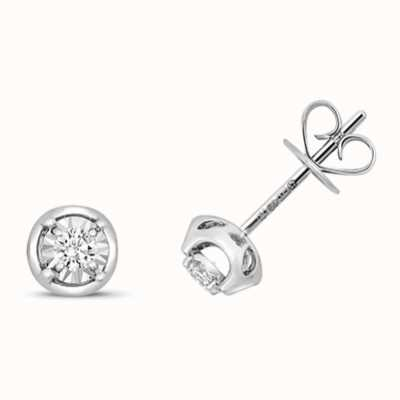 Treasure House 9k White Gold Illusion Set Diamond Stud Earrings ED322W