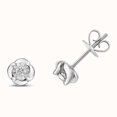 Treasure House 9k White Gold Illusion Set Diamond Stud Earrings ED323W